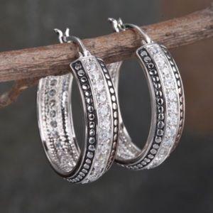 Montana Silversmiths Beaded Crystal Hoop Earrings